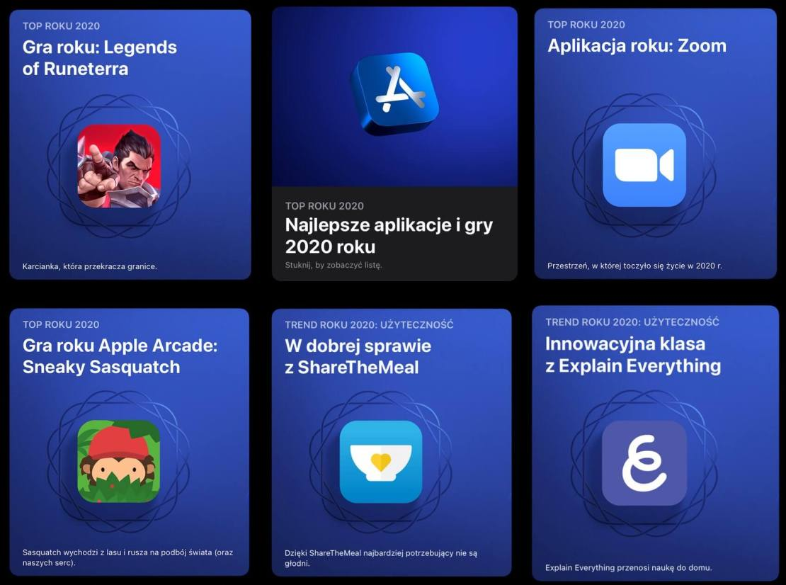 Best of 2020 App Store (Najlepsze gry i aplikacje mobilne 2020 roku w sklepie App Store)