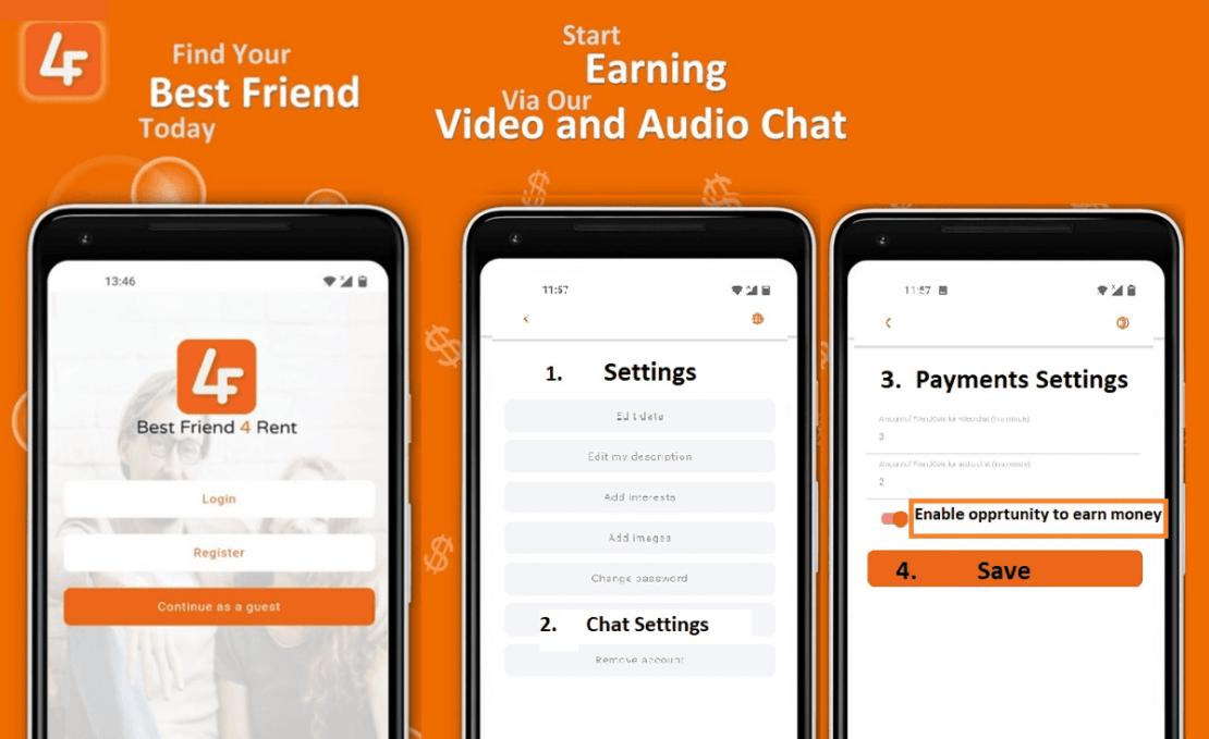 Zrzuty ekranu z aplikacji BestFriend4Rent na Androida