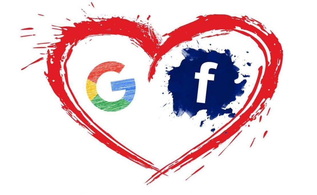 Rysowana ikona Google'a i Facebooka w sercu