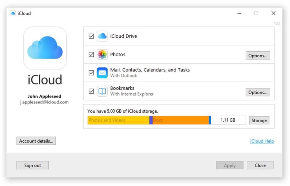 Aplikacja iCloud na Windowsa