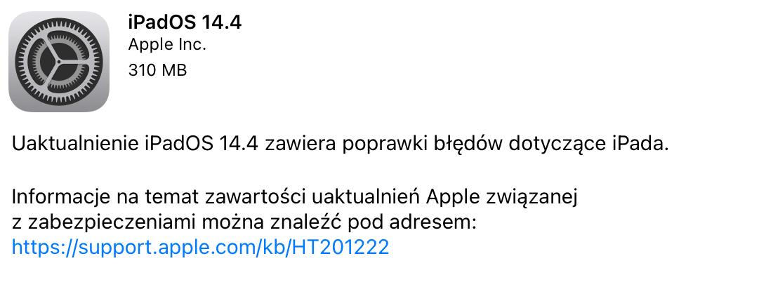 iPadOS 14.4. uaktualnienie w trybie OTA