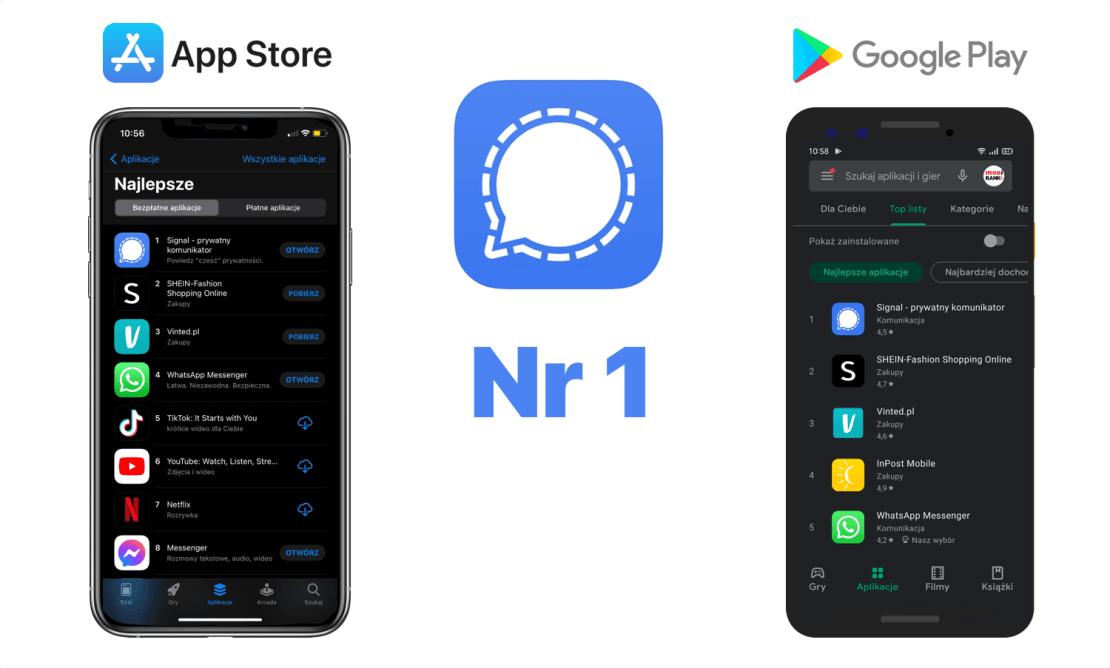 Signal na 1. miejscu w sklepach App Store i Google Play w Polsce i na świecie (11.01.2021)