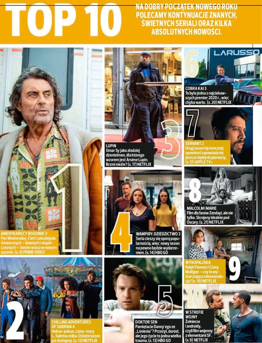 TOP 10 polecanych seriali na początek roku przez magazyn Netfilm