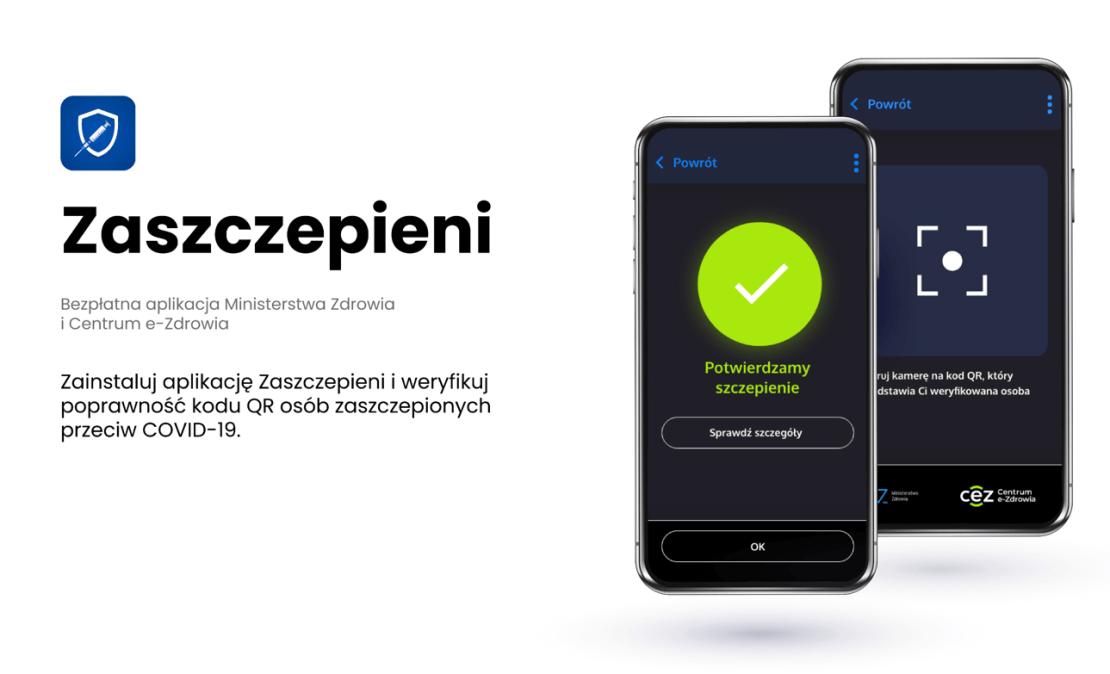 """Aplikacja mobilna """"Zaszczepieni"""" do weryfikacji kodów QR o szczepieniu"""
