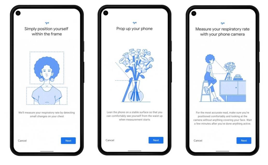 Pomiar tętna i częstości oddechu za pomoca aparatu w aplikacji Google Fit na telefony Pixel