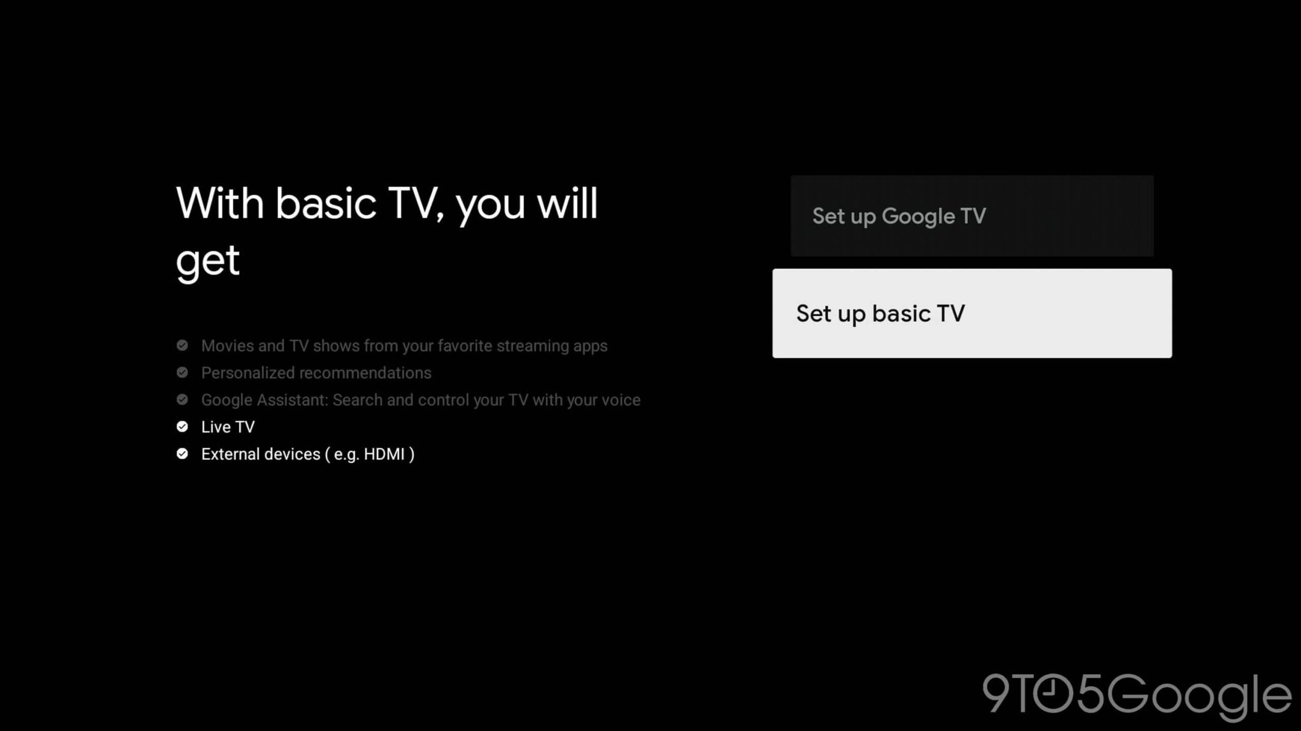 Google TV - Basic TV - tryb podstawowy