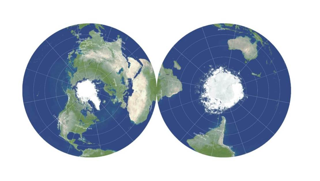 Dwustronna projekcja pokazująca naszą planetę 3D w 2D. fot. Gott, Goldberg, Vanderbei