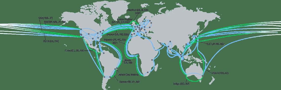 Mapa internetowych kabli międzykontynentalnych