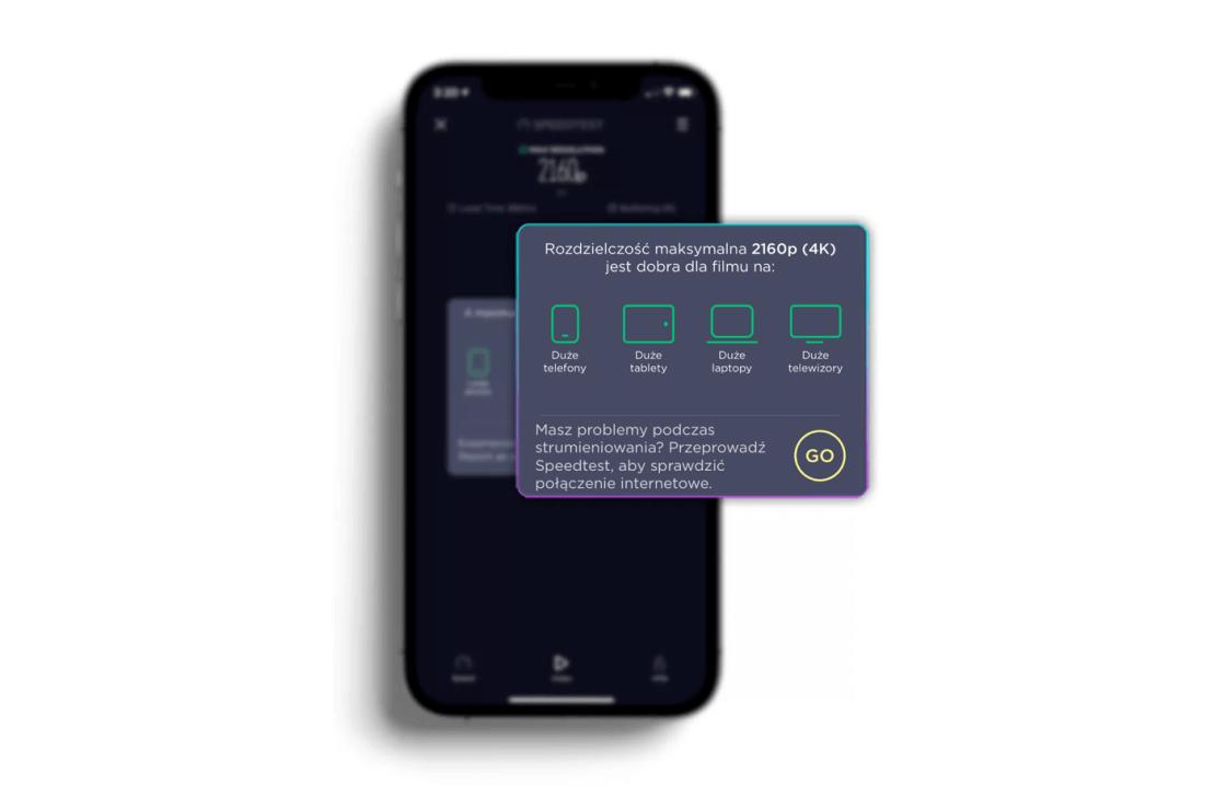Test wideo w aplikacji mobilnej Speedtest by Ookla