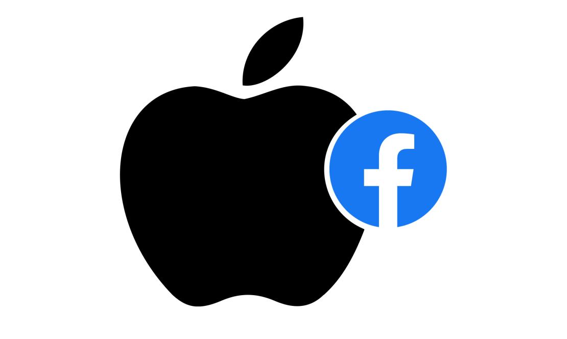 Logo Apple'a pożerające logo Facebooka