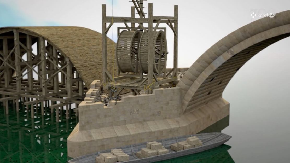 Animacja pokazująca jak budowano Most Karola w Pradze