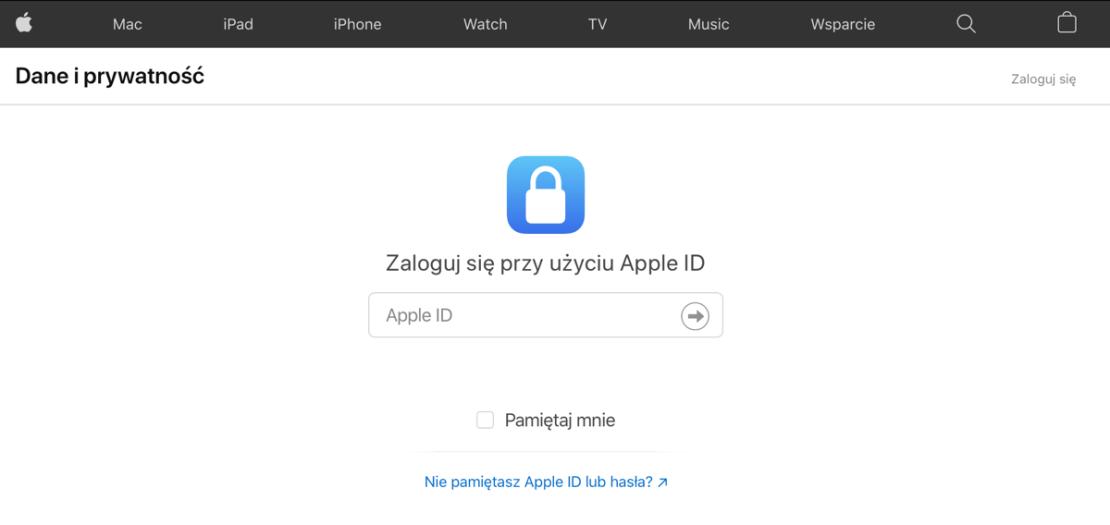 """Logowanie do usługi """"Dane i prywatność"""" Apple iCloud"""