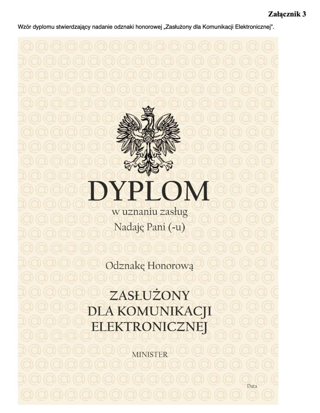 """Wzór dyplomu stwierdzający nadanie odznaki honorowej """"Zasłużony dla Komunikacji Elektronicznej"""""""