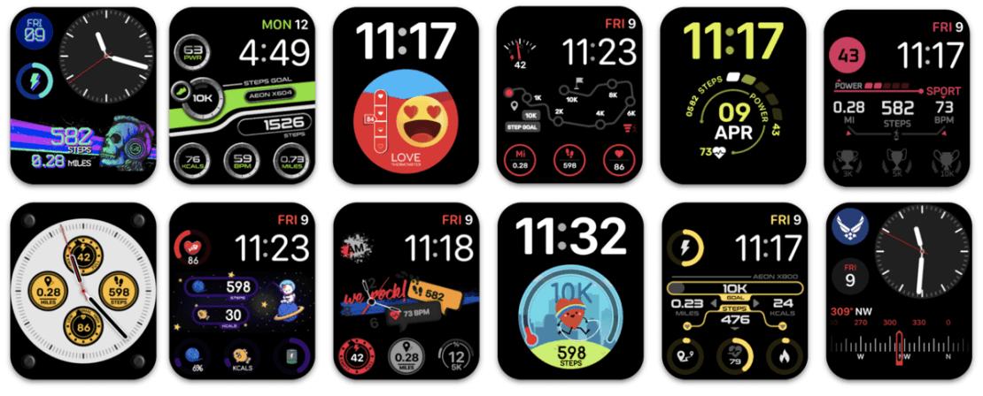 Przykładowe tarcze dla Apple Watcha z aplikacji Facer