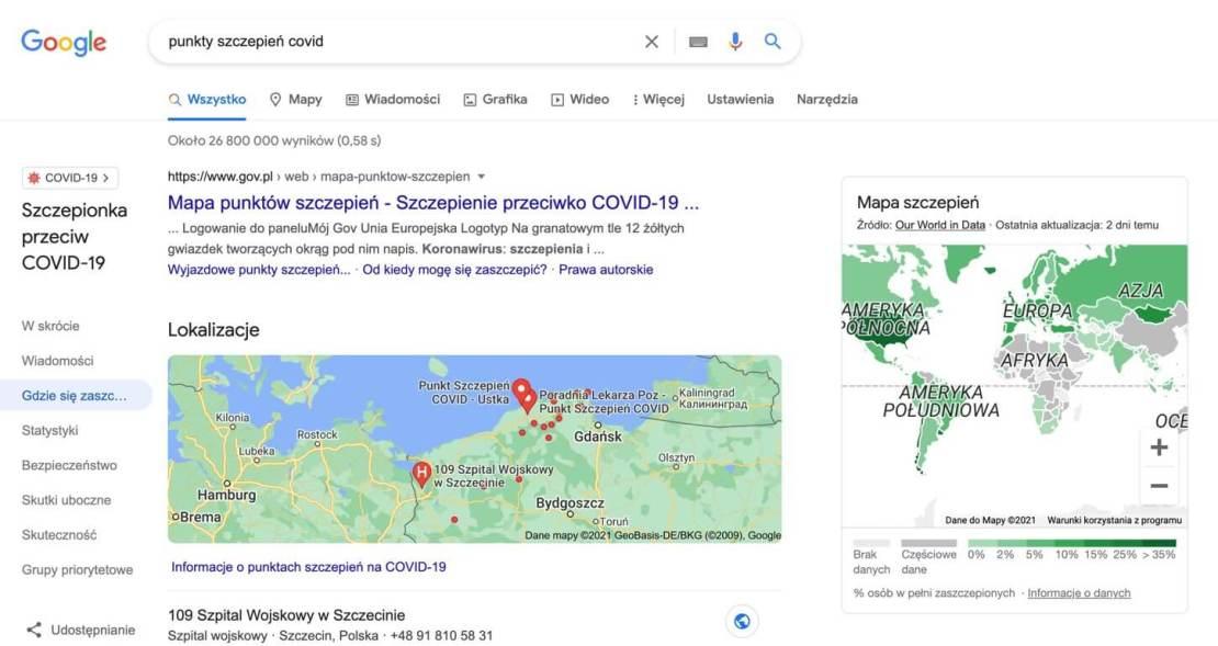 Lokalizacje punktów szczepień przeciwko COVID-19 w wyszukiwarce Google