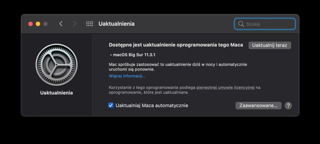 Uaktualnienie macOS Big Sur 11.3.1