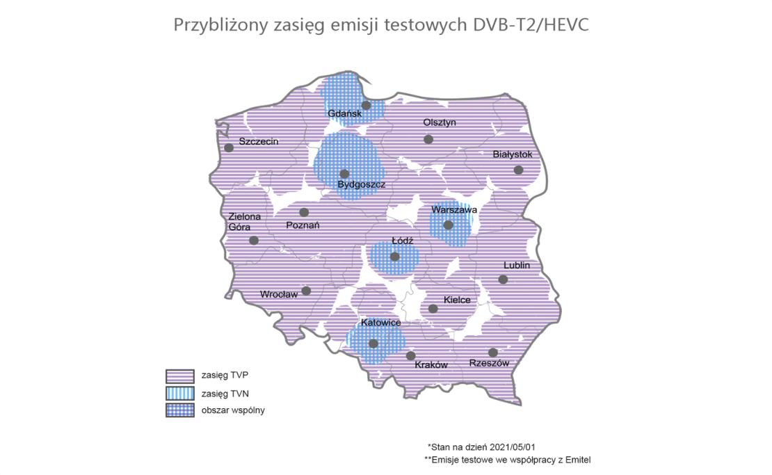 Przybliżony zasięg emisji testowych telewizji cyfrowej w DVB-T2/HEVC w Polsce