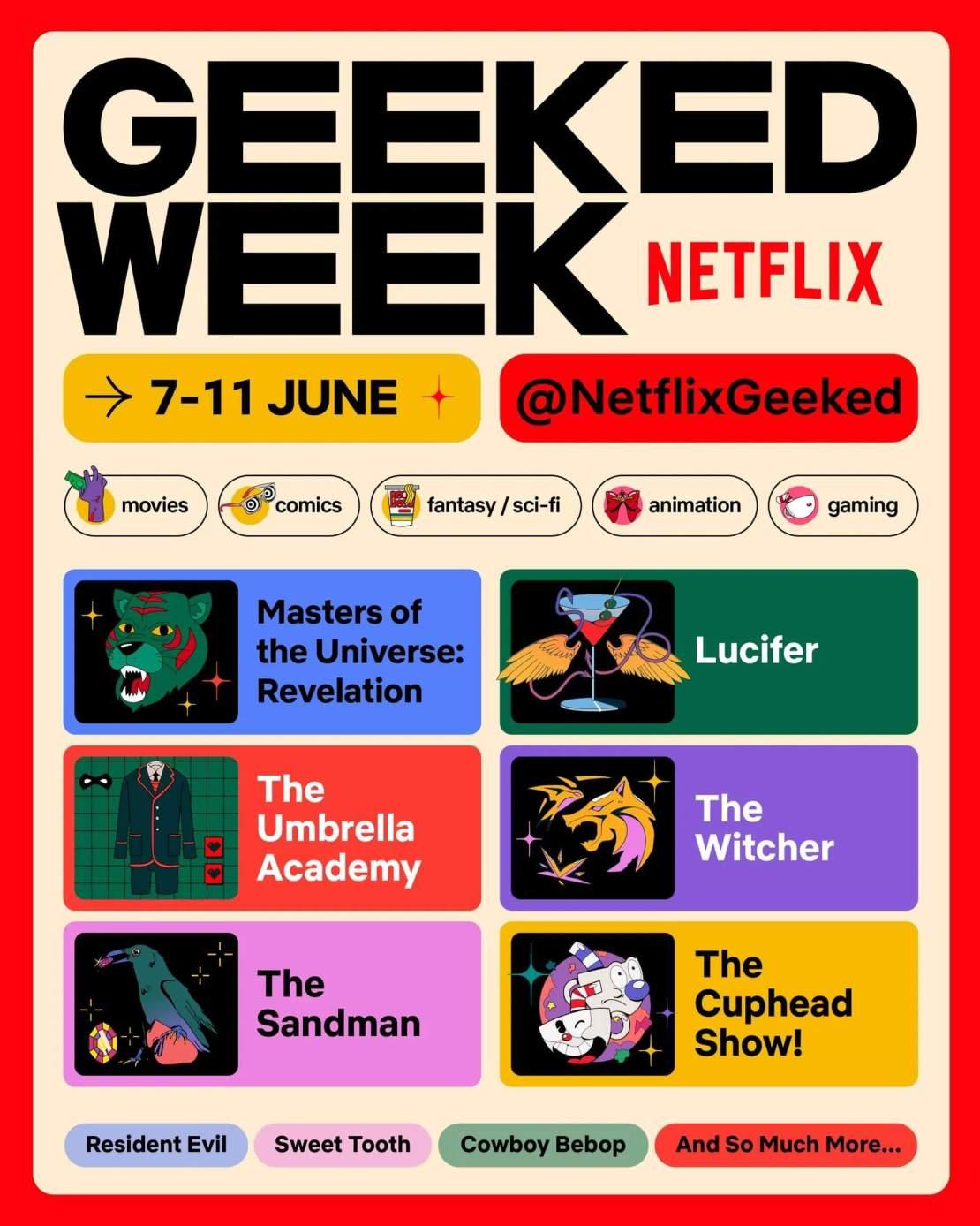 Plakat wydarzenia Geeked Week 2021 od Netfliksa