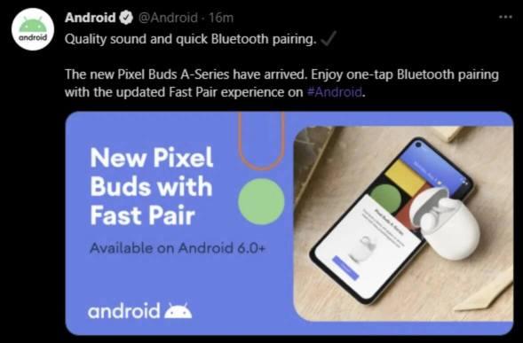 Zrzut ekranu tweeta o Pixel Buds Series-A na koncie @Android