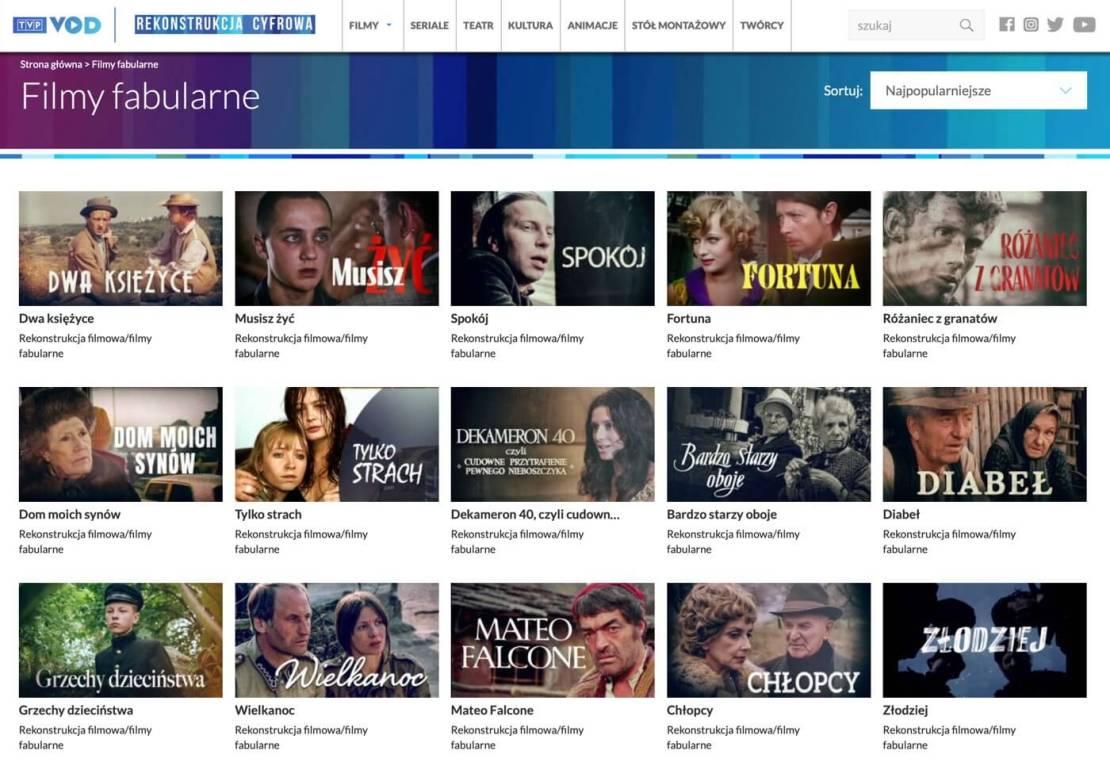 """Zrzut ekranu ze strony cyfrowa.tvp.pl z sekcji """"Filmy fabularne"""""""