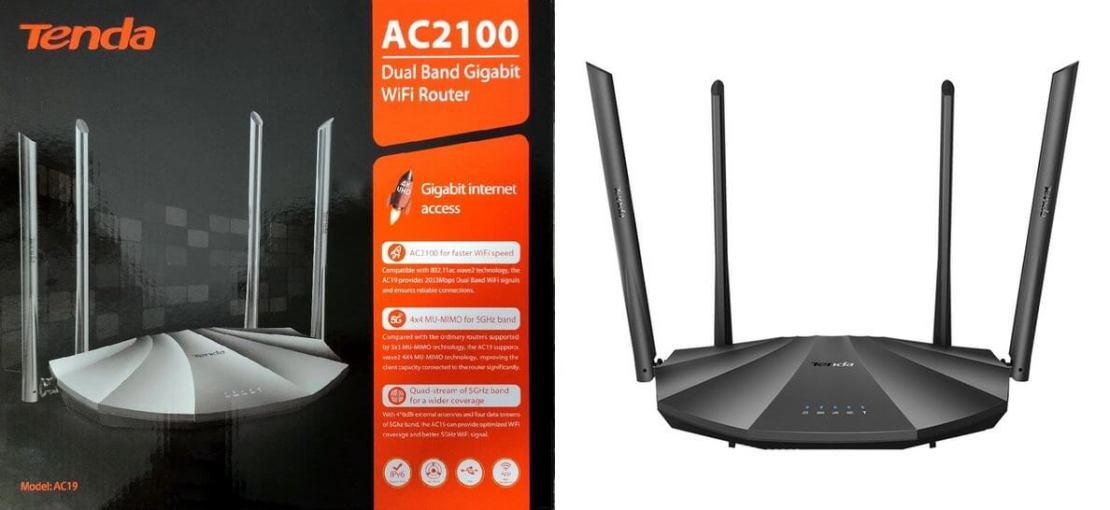 Tenda AC19 - pudełko i router (widok z przodu)