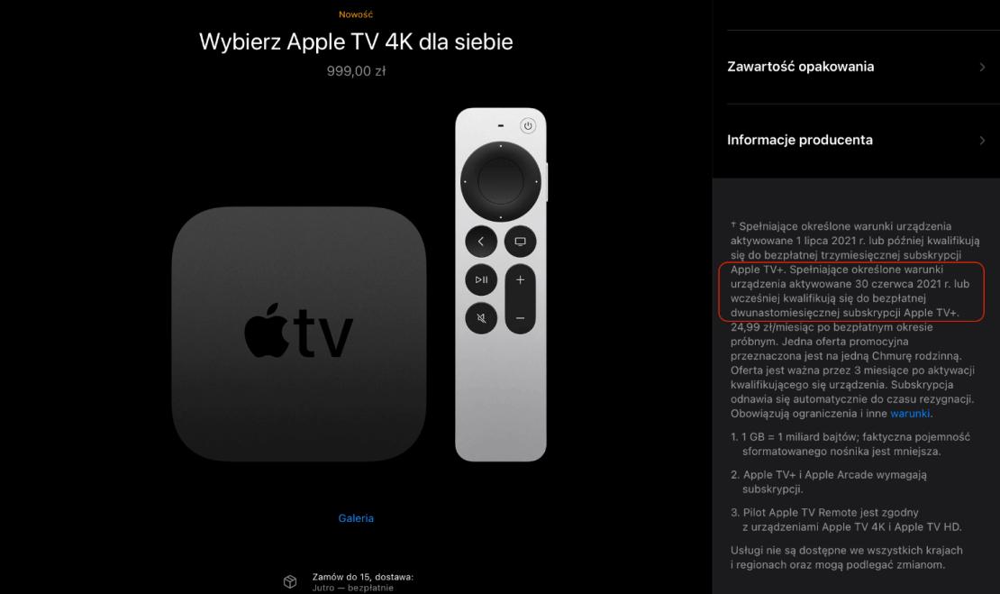 Promocja Apple TV+ 12 miesięcy za darmo przy aktywacji do 30 czerwca 2021 r.