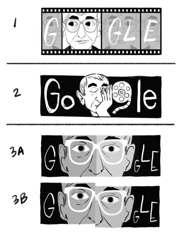 Szkice Google Doodle z Kieślowskim (z okazji 80. rocznicy urodzin – 27 czerwca 2021 r.)