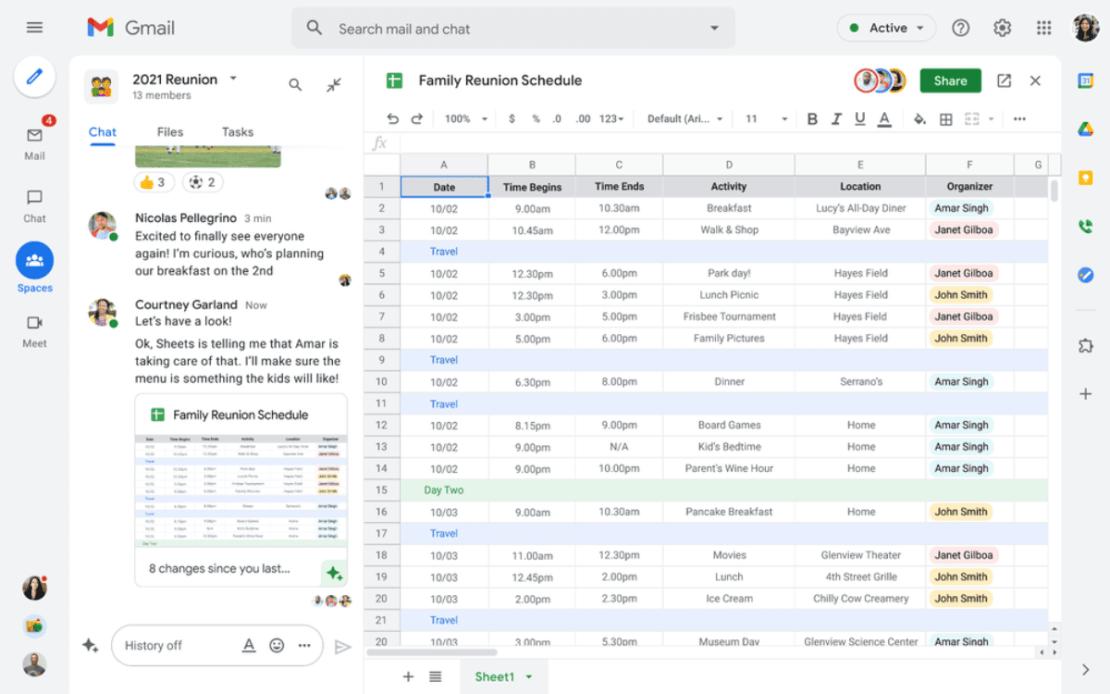 Planowanie zjazdu rodzinnego w Spaces (Google Workspace)