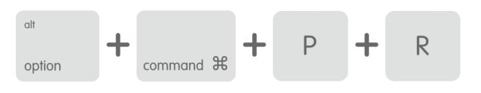 Kombinacja klawiszy resetu pamięci NVRAM na Macbookach