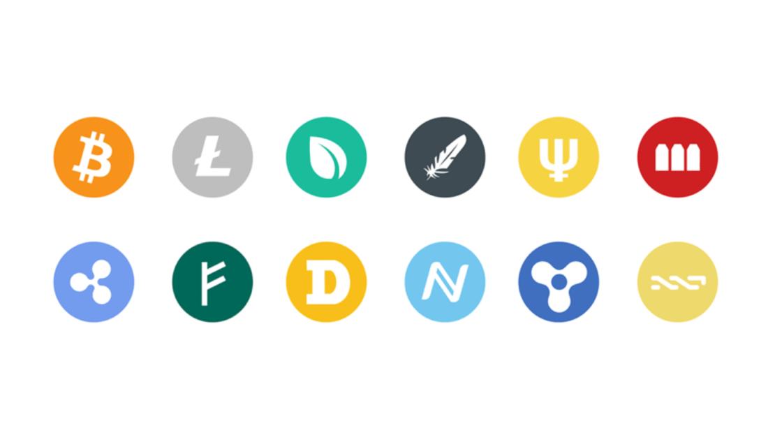 Symbole wybranych kryptowalut