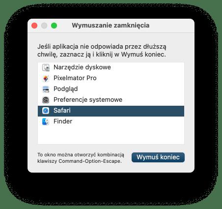 Wymuszanie zamknięcia aplikacji pod systemem macOS