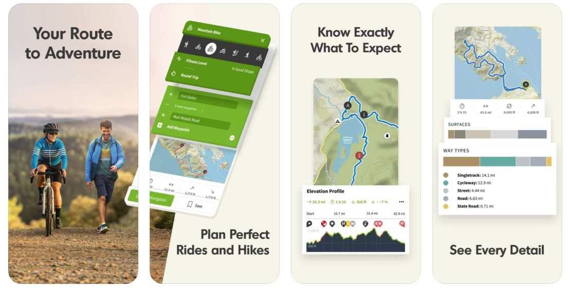 """Zrzut ekranu z aplikacji """"Komoot: Cycling, Walking, MTB"""""""