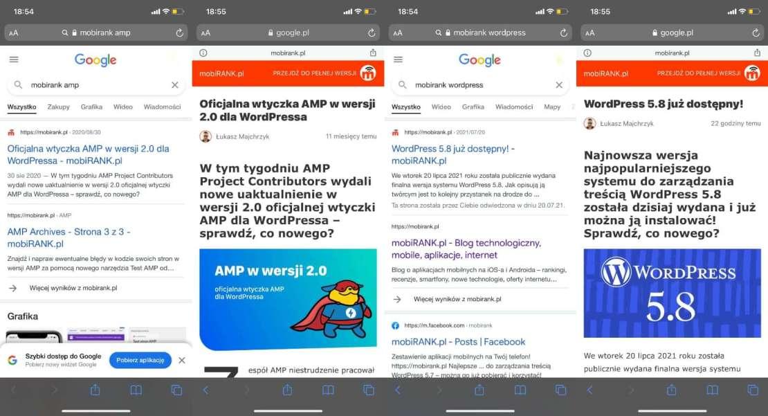Brak oznaczenia AMP w mobilnych wynikach wyszukiwania Google