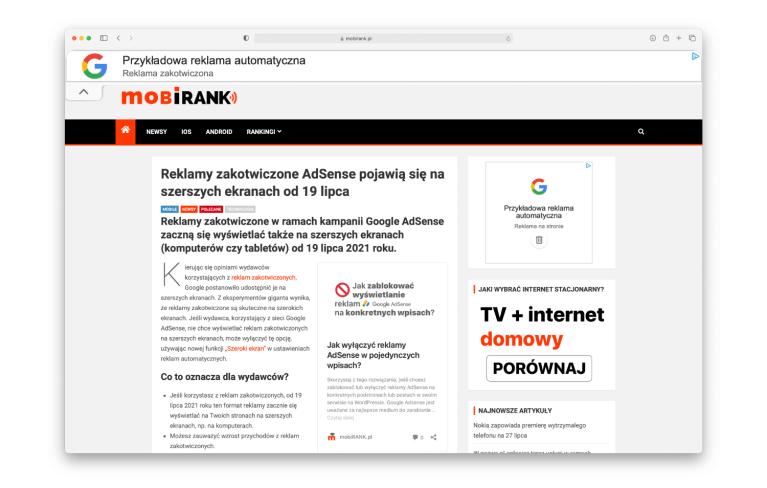 Reklamy zakotwiczone Google AdSense na szerokich ekranach