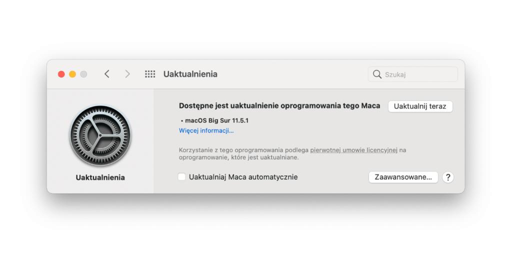 Uaktualnienie macOS BigSur 11.5.1