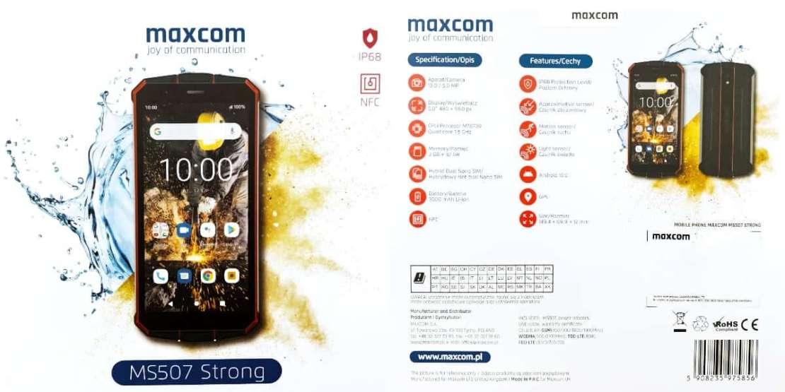 Przód i tył pudełka od smartfona Maxcom MS507
