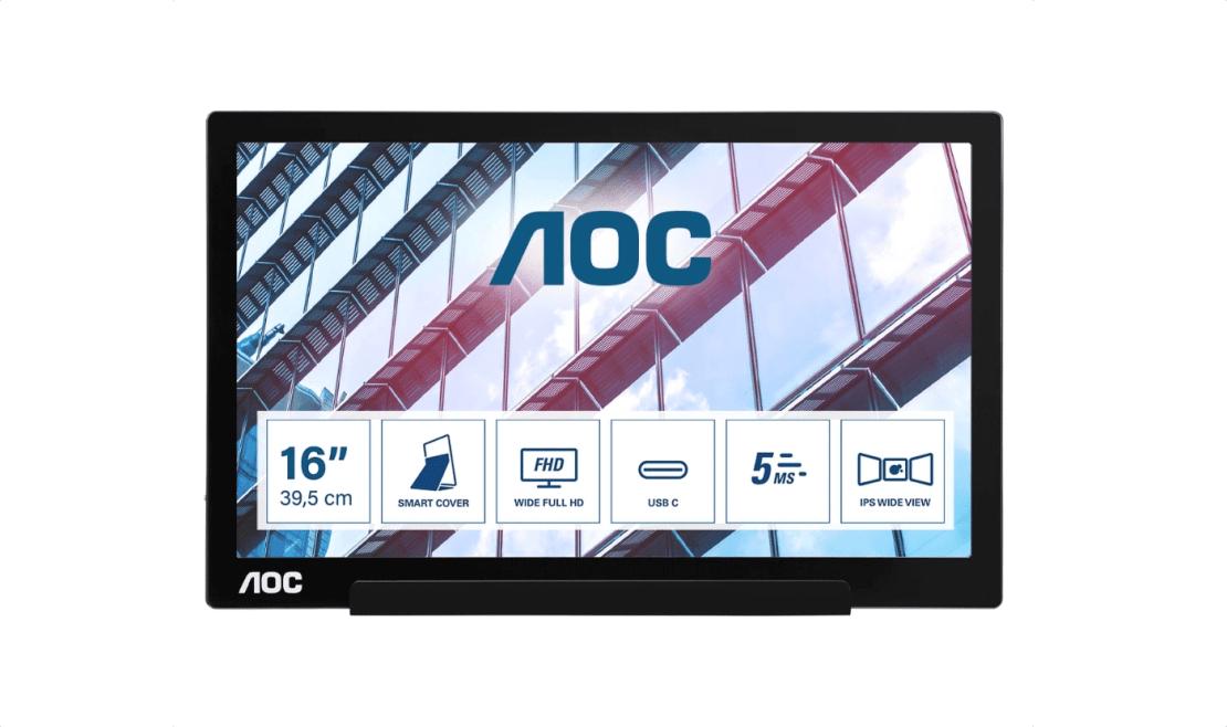 Przenośny monitor AOC z hybrydowym połączeniem USB