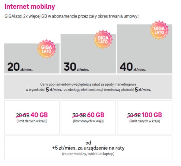 Cennik internetu mobilnego w T-Mobile GIGAlato 2021