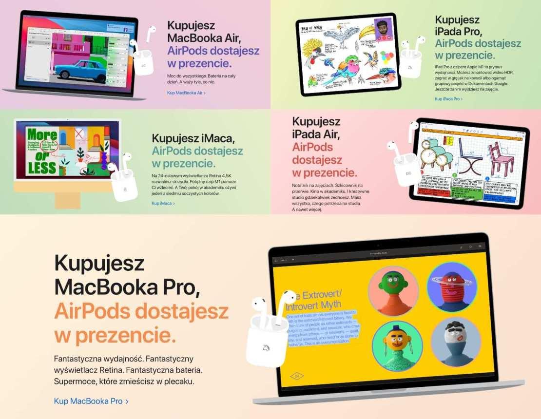 Promocja Apple dla sektora edukacji 2021 - słuchawki AirPods w prezencie