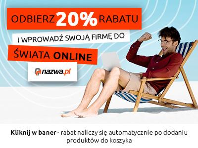 Banner: Rabat 20 proc. na zakupy usług w nazwa.pl