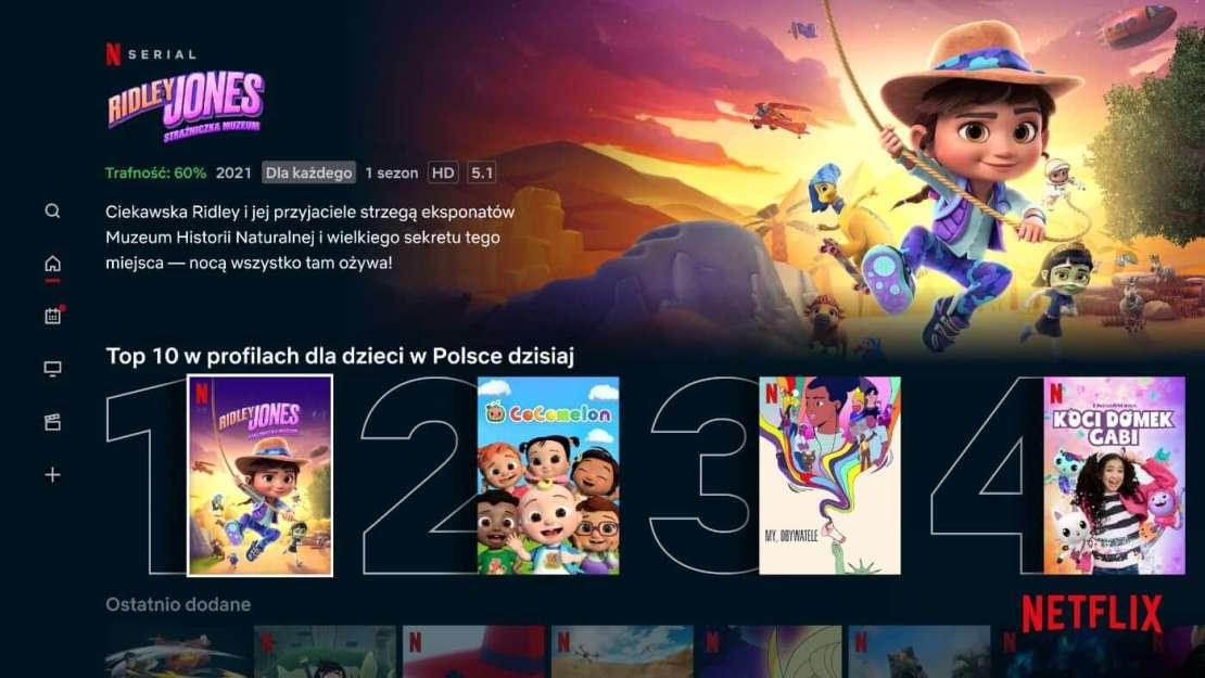 Rzędy TOP 10 dla dzieci i rodzin w serwisie Netflix