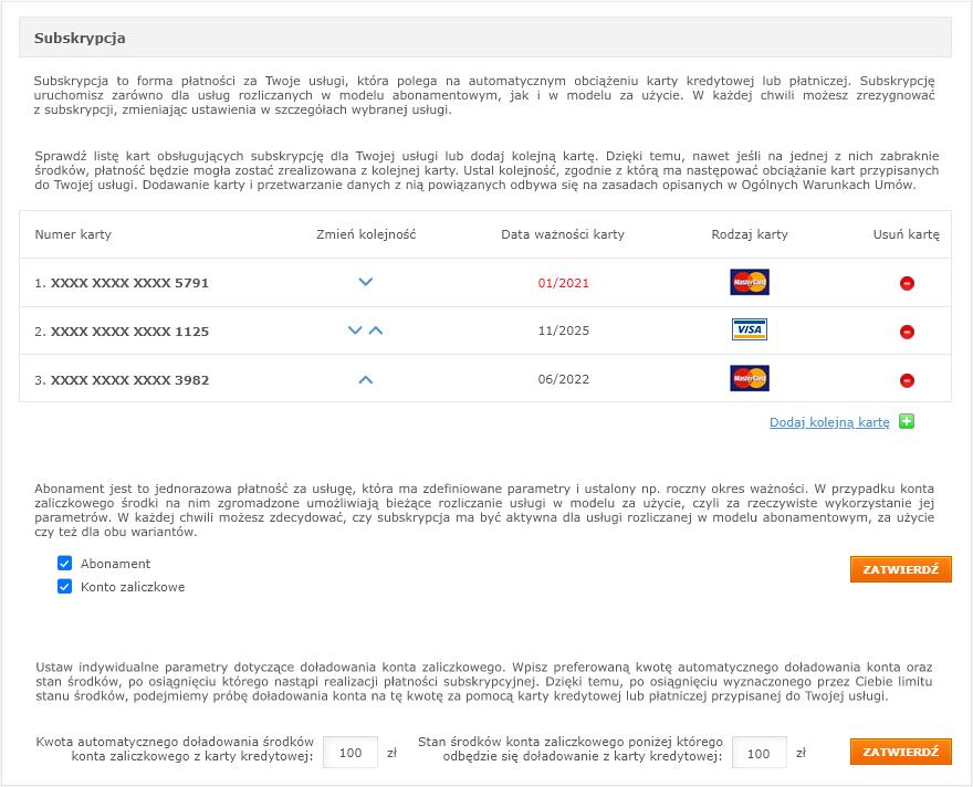 Ustawienia subskrypcji w Panelu Klienta