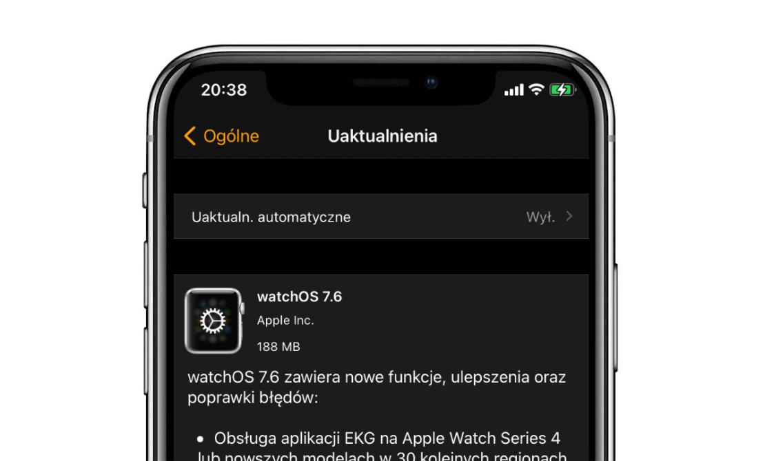 watchOS 7.6 - uaktualnienie OTA