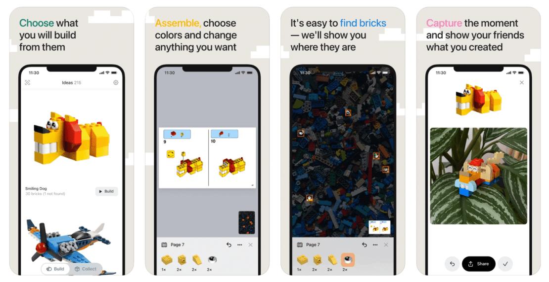 Zrzuty ekranów z aplikacji Brickit