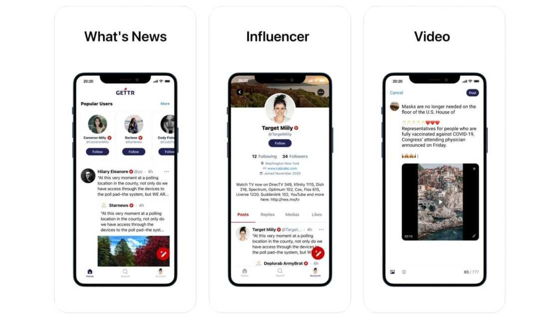 """Zrzuty ekranów z aplikacji """"GETTR - A Marketplace of Ideas"""""""