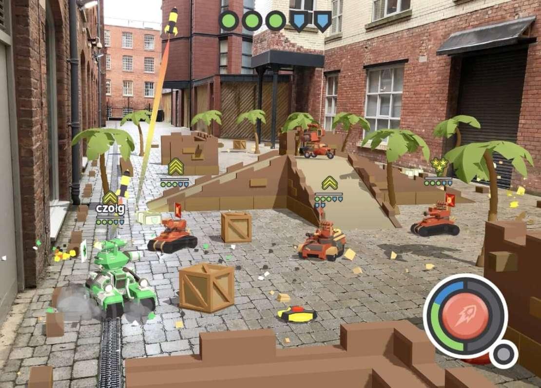 """Zrzut ekranu z gry mobilnej """"AR Tanks"""""""