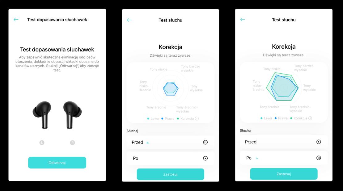 Test dopasowania słuchawek i Test słuchu - OnePlus Buds Pro