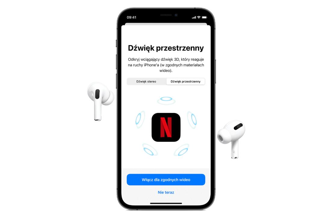 Dźwięk przestrzenny w serwisie Netflix (AirPods Pro i Max) iOS 14/iOS 15