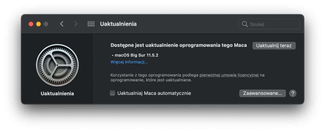 Uaktualnienie macOS BigSur 11.5.2