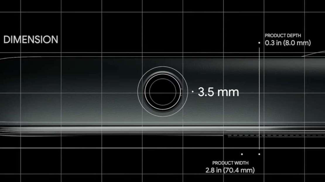 Spot gniazda słuchawkowego w Pixel 5a 5G (parodia Jony'ego Ive'a)